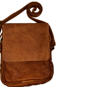 Men's leather carry bag with flap