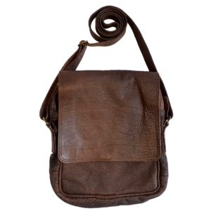 Men's leather carry bag with flap (Hard brown)