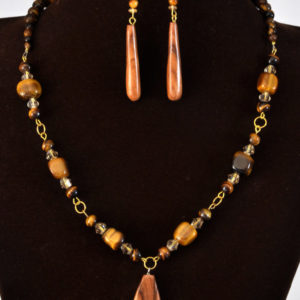 Tigers Eye necklace and earring set (N007)