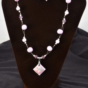 Pink polymer clay necklace set (N010)