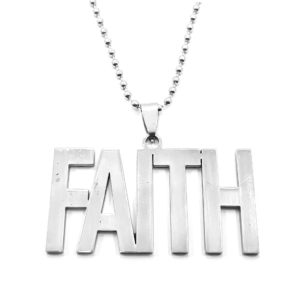 Stainless Steel Faith Pendant with Ball Chain